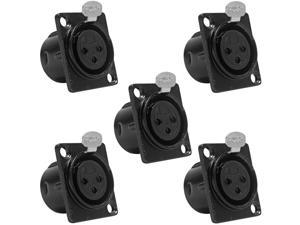 Seismic Audio - SAPT219-5Pack - 5 Pack of XLR Female Panel Mount Connector - Black Metal Housing - Fits Series D Pattern ...