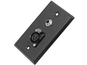 """Seismic Audio - SA-PLATE11 - Black Stainless Steel Wall Plate - One 1/4"""" TS Mono Jack and One XLR Female Connector - Cable ..."""