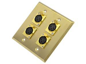 Seismic Audio - SA-PLATE19 - Gold Stainless Steel 2 Gang XLR Female Wall Plate - 4 XLR Female Connectors - Cable Installation
