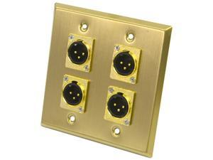 Seismic Audio - SA-PLATE17 - 2 Gang XLR Male Stainless Steel Gold Wall Plate - 4 XLR Male Connectors - Cable Installation