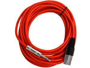 Seismic Audio - SATRXL-M25Red - 25 Foot Red XLR Male to 1/4 Inch TRS Patch Cable Snake Cords - Balanced