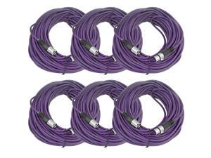 Seismic Audio - 6 Pack of Purple 100' XLR male to XLR female Microphone Cables