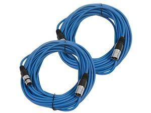 Seismic Audio - SAXLX-50Blue-2Pack - Pair of Blue 50 Foot XLR Male to Female Microphone or Patch Cable (2 Pack)