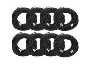 Seismic Audio - 8 Pack of Black 100' XLR male to XLR female Microphone Cables
