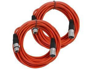 Seismic Audio - SAXLX-25Red-2Pack - Pair of Red 25 Foot XLR Male to Female Microphone or Patch Cable (2 Pack)