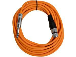 Seismic Audio - SATRXL-F25Orange - 25 Foot Orange XLR Female to 1/4 Inch TRS Patch Cable Snake Cords - Balanced