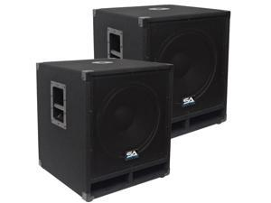 "Seismic Audio - Baby-Tremor-PKG1 - Pair of 15"" Pro Audio Subwoofer Cabinets - 300 Watts RMS - PA/DJ Stage, Studio, Live Sound ..."