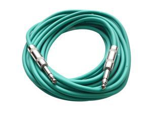 "Seismic Audio - SATRX-25Green - 25 Foot Green 1/4"" TRS Patch Cable - Balanced Cord - Effects, EQ, Mixer"