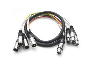 Seismic Audio - 4 Channel XLR Snake Cable 5 Foot Pro Audio Colored Snake Cable
