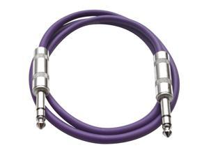 Seismic Audio - Purple 2 foot TRS to TRS Patch Cable - Snake Microphone Cord