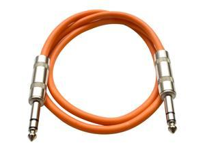 Seismic Audio - Orange 3 foot TRS to TRS Patch Cable - Snake Microphone Cord