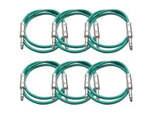 Seismic Audio - 6 Pack of Green 3 foot TRS to TRS Patch Cables - Snake Microphone Cord