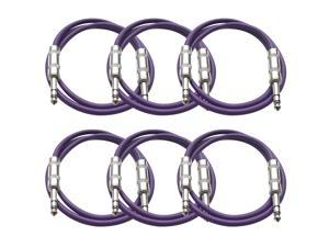 Seismic Audio - 6 Pack of Purple 2 foot TRS to TRS Patch Cables - Snake Microphone Cord