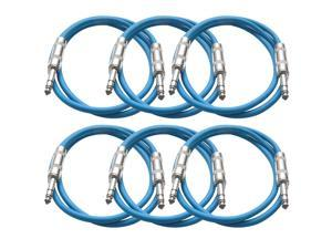 Seismic Audio - 6 Pack of Blue 2 foot TRS to TRS Patch Cables - Snake Microphone Cord