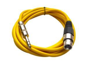 Seismic Audio - Yellow 10 foot XLR Female to TRS Male Patch Cable - Snake Microphone Cord