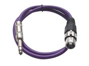 Seismic Audio - Purple 2 foot XLR Female to TRS Male Patch Cable - Snake Microphone Cord