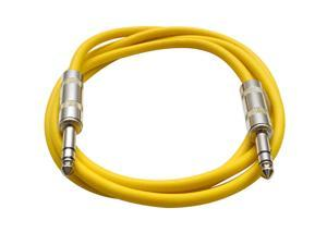 Seismic Audio - SATRX-6 - Yellow 6 Foot TRS Patch Cable