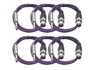 Seismic Audio - 6 Pack of Purple 3 foot XLR Female to TRS Male Patch Cables - Snake Microphone Cord
