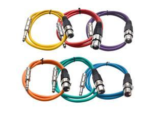 Seismic Audio - 6 Pack of Colored 3 foot XLR Female to TRS Male Patch Cables - Snake Microphone Cord