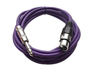 Seismic Audio - Purple 10 foot XLR Female to TRS Male Patch Cable - Snake Microphone Cord