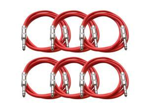 Seismic Audio - 6 Pack of Red 6 foot TRS to TRS Patch Cables - Snake Microphone Cord