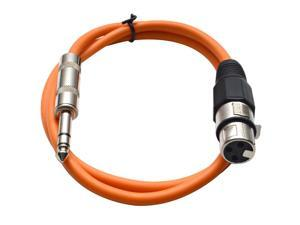 Seismic Audio - Orange 3 foot XLR Female to TRS Male Patch Cable - Snake Microphone Cord