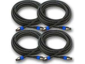 Seismic Audio - 4 Pack - Speakon Audio PA Speaker Cables- 4 Conductor - 25 foot