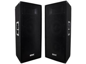 "Seismic Audio FL-122P Pair of Dual Premium 12"" PA/DJ Speaker Cabinets with Titanium Horns, 700 Watts RMS per Cabinet"