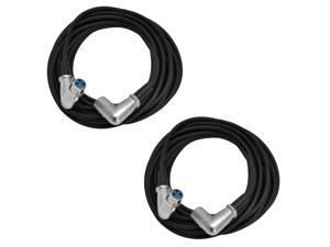 Seismic Audio - SAXRA25-2Pack - 2 Pack of 25 Foot XLR Right Angle Microphone Cable