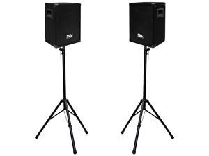 "Seismic Audio - Pair of 8"" PA Speakers with two tripod speaker stands"