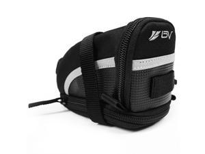 BV Bicycle Strap-On Saddle Bag/Seat Bag, 3M Scotchlite Reflective Trim, Expandable (Medium)