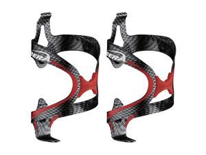 Ibera Bicycle Carbon Color-Red Fusion Water Bottle Cage Pair - Rubber Grip Extra Lightweight