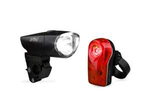 BV Bicycle Super Bright 1-Watt Headlight and 1/2 Watt Taillight, Quick-Release, Water Resistant