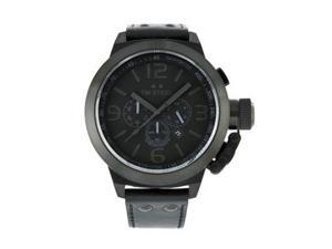 TW Steel Men's Cool Black Chronograph Black Dial Black Leather