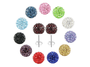 Sterling Silver 8mm Round Garnet Crystals Pave Disco Ball Earrings