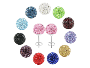 One Pair of 925 Sterling Silver 8mm Round Pink Crystal Disco Ball Back Post Stud Earrings