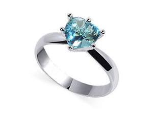 Sterling Silver Cubic Zirconia 3mm Aquamarine Solitaire Ring Size 7