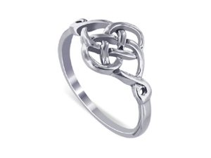 LWRS127-7 Sterling Silver Polish Finish 10 x 20mm Celtic Rounded Knot Design 2mm Wide Band Ring Size 7