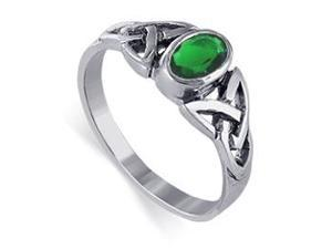 925 Sterling Silver Emerald Color Cubic Zirconia Oval Solitaire Ring