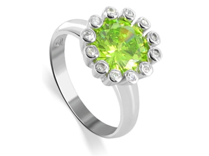 Sterling Silver Round Peridot CZ with CZ Accents Rhodium Plated Band Flower Ring Size 10