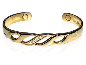Womens Magnetic Yellow Gold Cuff Bracelet 6 inch Long with Cubic Zirconia Accents