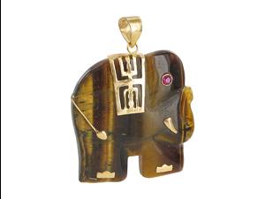 14k Yellow Gold Tiger Eye 23mm Elephant with Ruby Eye Dangle Pendant