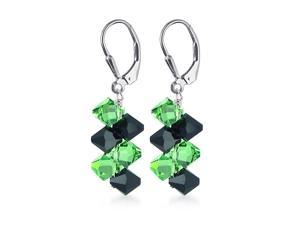 Sterling Silver Green and Black Crystal Earrings Made with Swarovski Elements