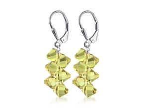 Sterling Silver Yellow Crystal Earrings Made with Swarovski Elements