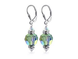 Sterling Silver 10mm Multifaceted Round Vitrial Crystal Earrings Made with Swarovski Elements