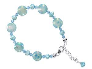 "Sterling Silver 7"" 8"" Length Adjustable Bracelet Made with Swarovski Elements Blue Mother of Pearl and Crystal"