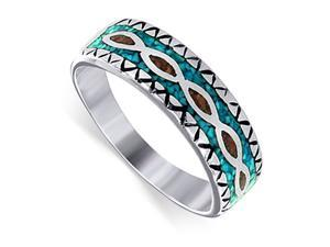 Sterling Silver Turquoise Coral 8mm Southwestern Style Band Ring Size 13