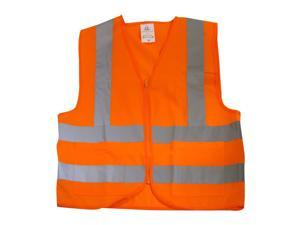 Neiko High Visibility Neon Orange Zipper Front Safety Vest with Reflective Strips - Medium - Meets ANSI/ISEA Standards