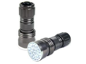 Neiko Super-Bright 21-LED Aluminum Flashlight, Gunmetal Silver