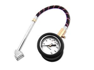 Neiko Heavy Duty Tire Gauge with Large Dial, Flex Hose, 10 - 160 PSI